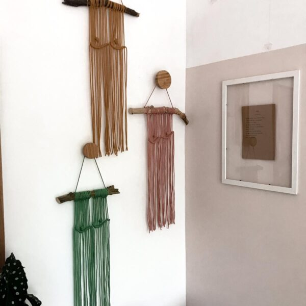 No16 Interior, Boob Macrame Wall Hangings in Mustard, Blush Pink and Eucalyptus Green