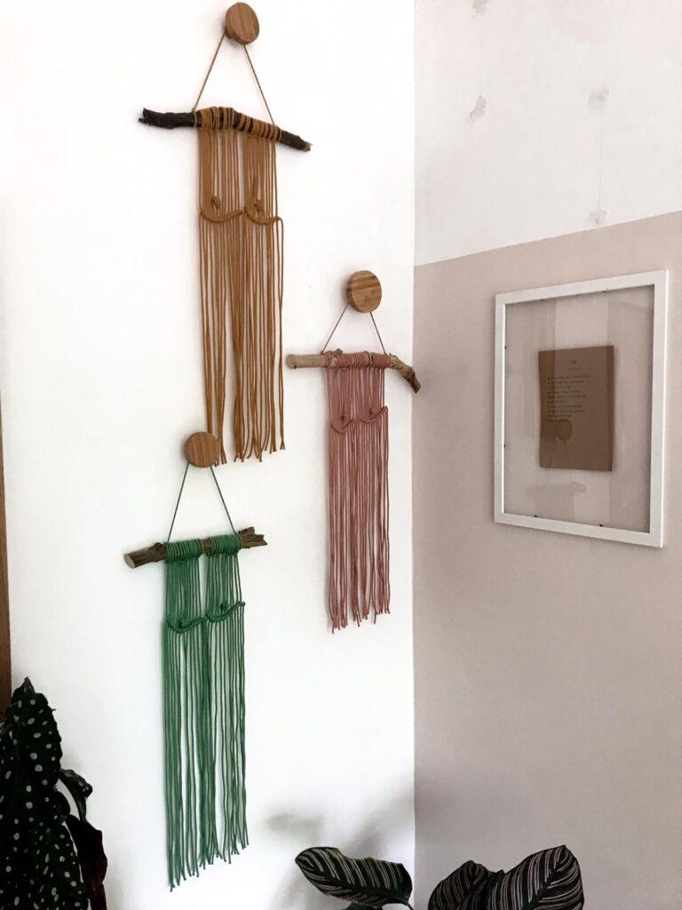 No16 Interior, Boob Macrame Wall Hangings in Mustard, Blush Pink and Eucalyptus Green