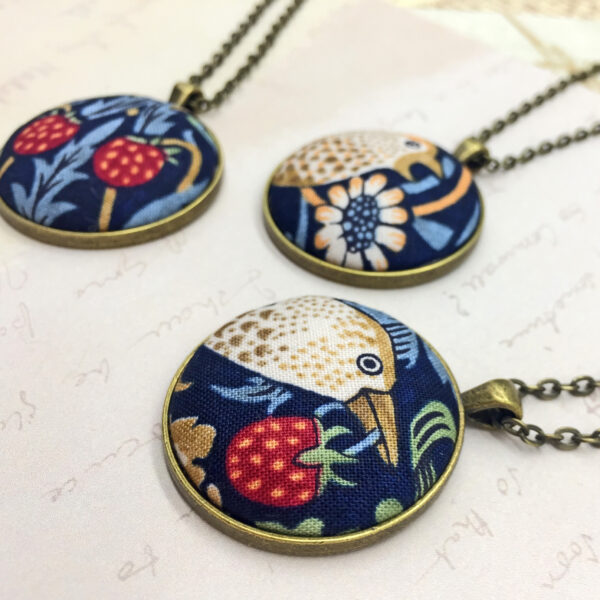 William Morris Strawberry thief bird pendants by Bowerbird Jewellery