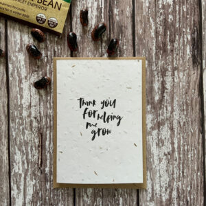eco friendly card, printed on seed paper