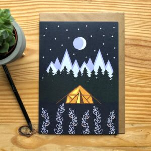 Own Way Under the Stars Greetings Card, tent, yurt, forest, camping