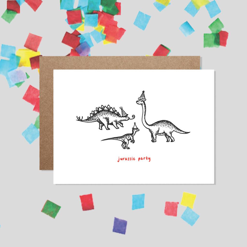 Bamber Prints Jurassic Party, Dinosaur Funny Birthday Card, Pedddle