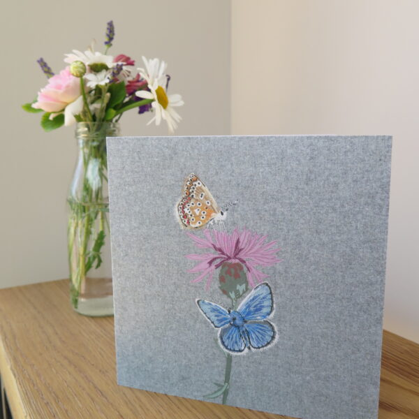 Lellibelle, butterfly greetings card, printed, fabric, applique, machine embroidered