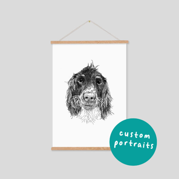 Bamber Prints Custom Pet Portrait for Dogs and Cats Print, Black and White Art in Wooden Frame Pedddle