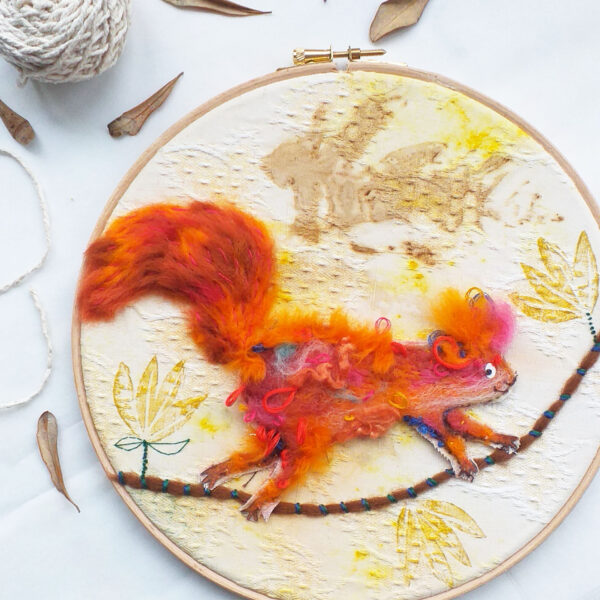 Mixed-Media, needle felted Squirrel, on an embroidery hoop.