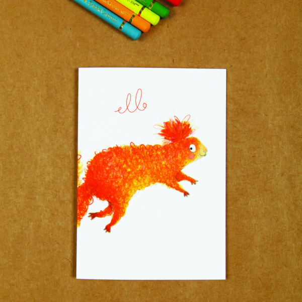 Jo Rose Studio, greeting card, a hand illustrated squirrel saying hello, mixed media original artwork.