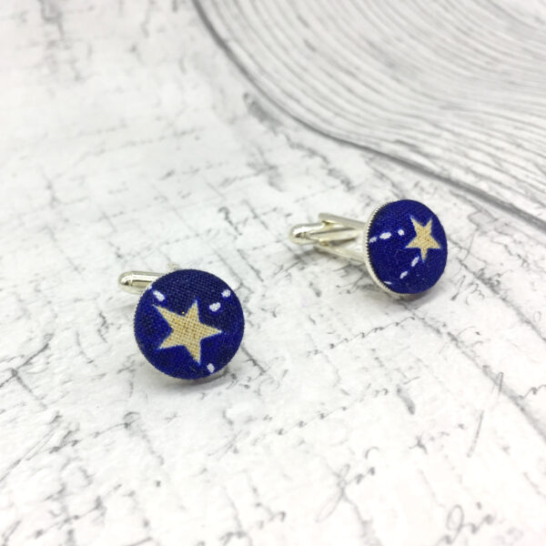 Stars gold blue cufflinks by Bowerbird Jewellery
