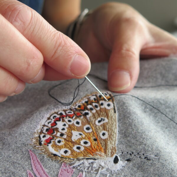 Lellibelle, butterflies greetings card, work in progress, hand embroidery