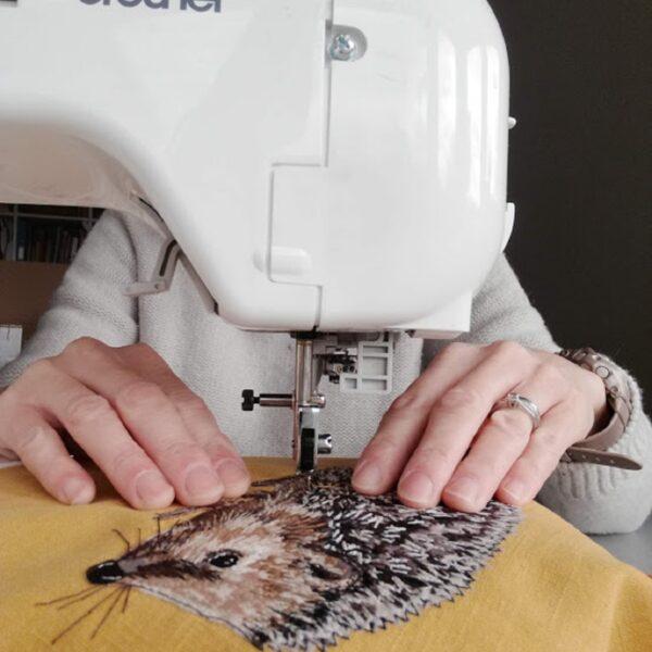 Lellibelle, hedgehog greetings card, work in progress, freehand machine embroidery