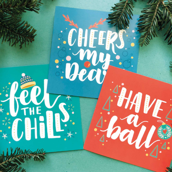 Nicola B Studio, Christmas Cards pack of 12, hand lettered and illustrated, printed on recycled stock, 3 designs