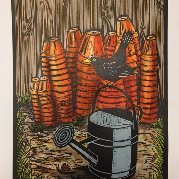 JaneDignumArtworks, Linocut print. Blackbird and Old Pots.