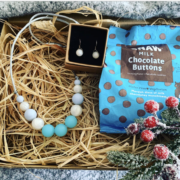 Crafted by Kate necklace & earring gift box with chocolate