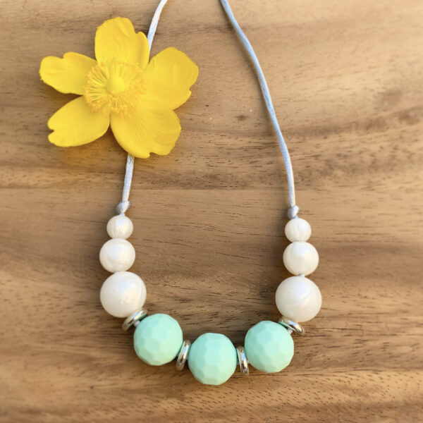 Crafted by Kate, Mint and pearl silicone bead necklace with silver beads