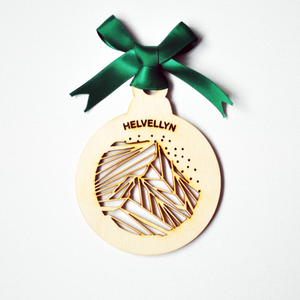 Round wooden laser cut graphic mountain bauble ornament