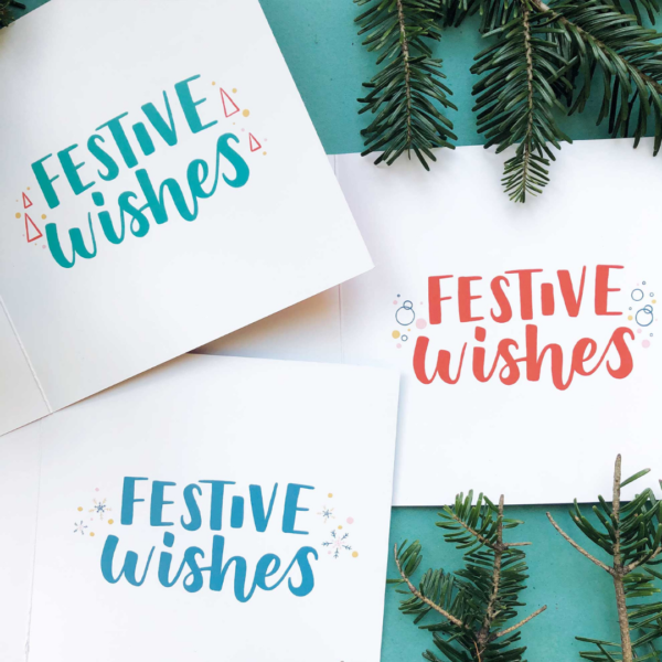 Nicola B Studio, Christmas Cards pack of 12, hand lettered and illustrated, printed on recycled stock, inner design