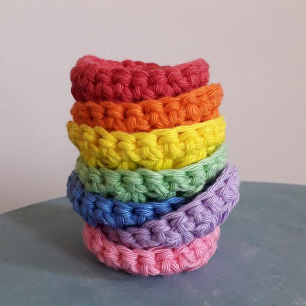 Scrubbies, rainbow, cotton face scrubbies, crochet face scrubbies