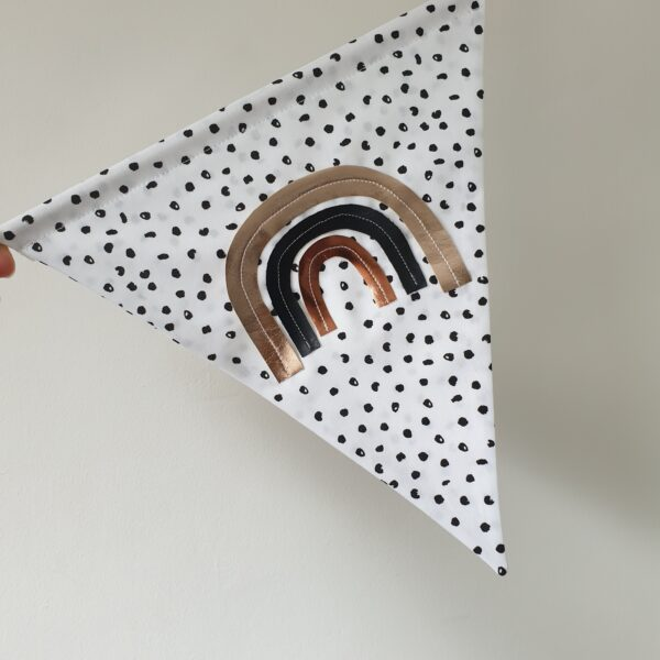 Surtees and Co Dalmation Spot Rainbow wall hanging with faux leather Rose gold, copper and black rainbow detail