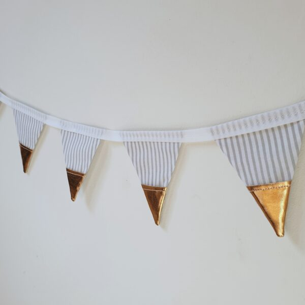 Surtees and Co Light Grey Stripe Bunting with Faux Leather Copper Detailing