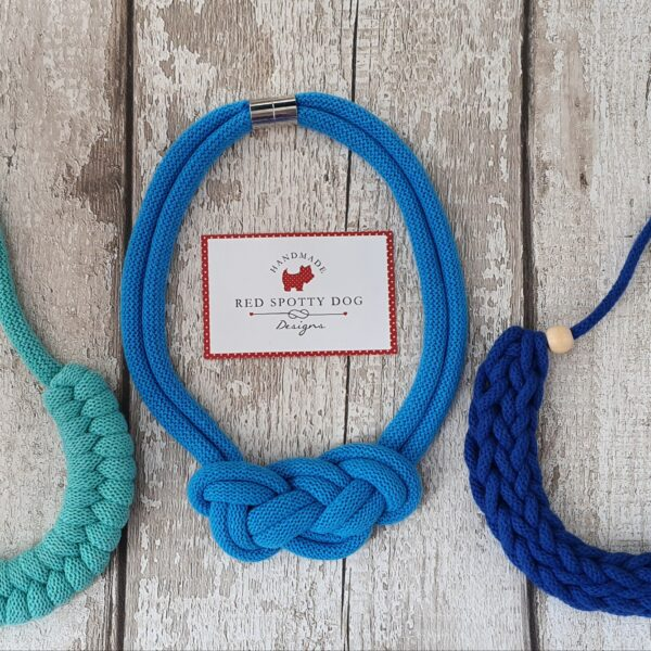 trio of necklaces in shades of blue. 3 different knot styles Jayne, Maya and florence