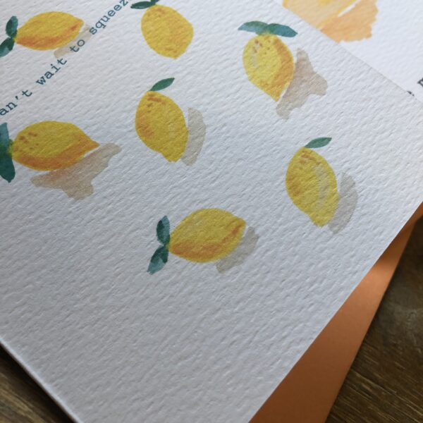 Sit & Sketch, Lemons Card, Can't Wait to Squeeze You, Pack of 3 cards, Eco Cards