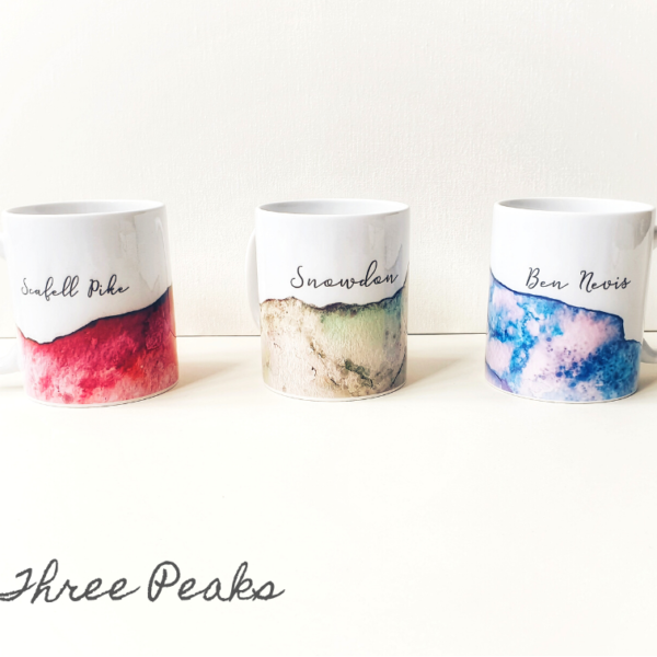 Go Own Way, Contemporary Ink Three Peaks Ceramic Mugs