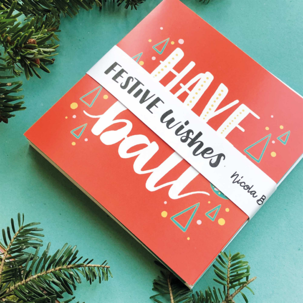 Nicola B Studio, Christmas Cards pack of 12, hand lettered and illustrated, printed on recycled stock, belly band
