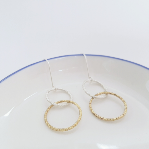 KiJo Jewellery, Double Circle Dangle Hoops gold and silver circles on blue white dish