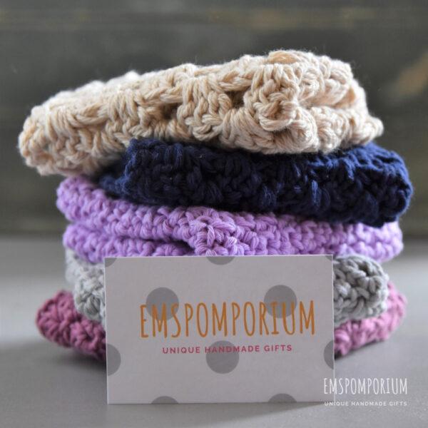 Crochet cotton washcloths, 100% cotton, beige, navy, purple, grey and pink.