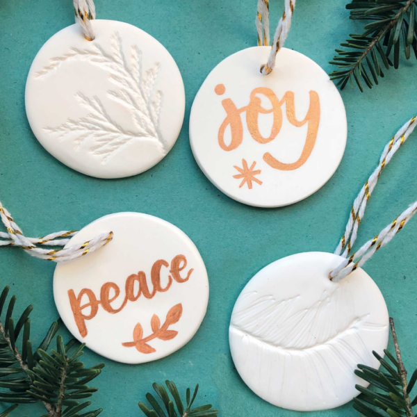 Nicola B Studio, Christmas Polymer Clay Decorations, Hand lettered can be personalised