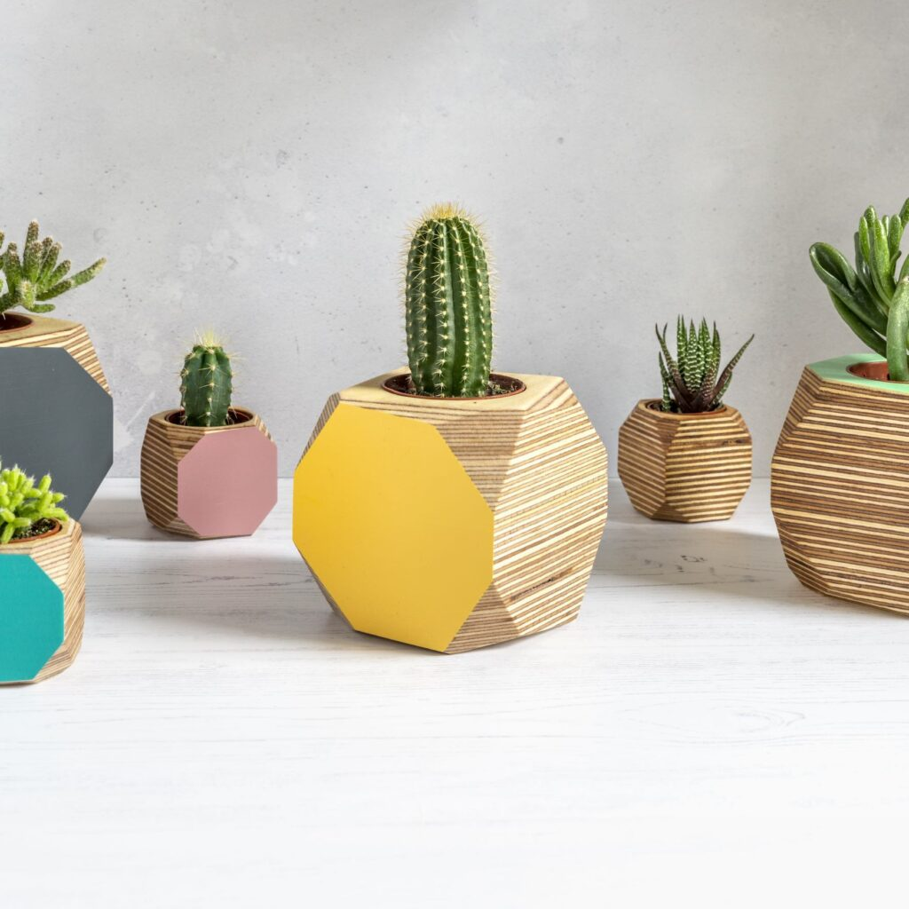 Priormade - geo vessel- Handmade colourful plant pots or desk tidies