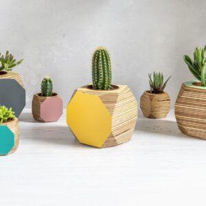 Priormade - geo vessel- Handmade colourful plant pots or desk tidies