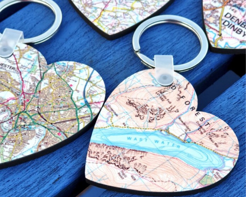 Go Your Own Way, Personalised Map Heart Keyring