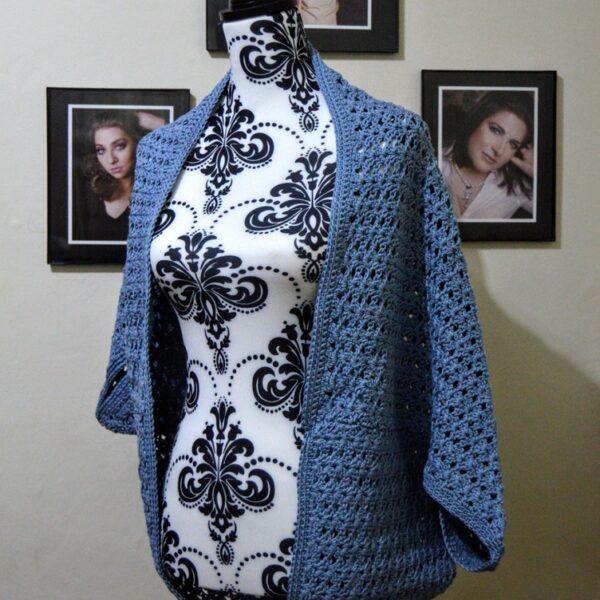 504 Krafts by K, Cocoon Sweater in blue cotton yarn