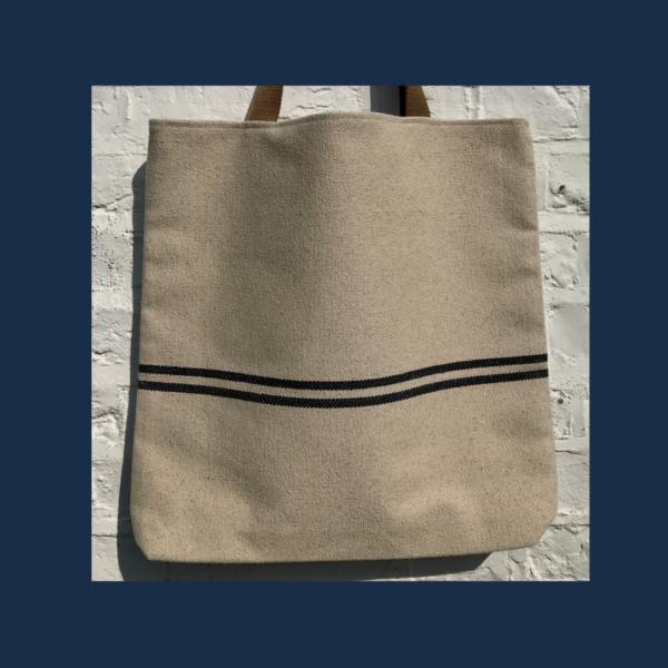 Blue striped tote bag.