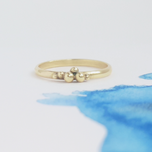 KiJo Jewellery, Gold sphere cluster ring on watercolour blue paper