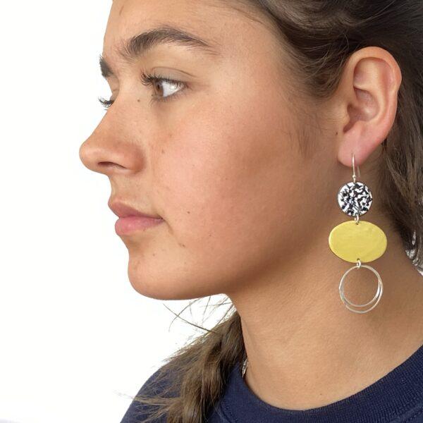 Katie Johnston Jewellery, mismatch enamel statement earrings