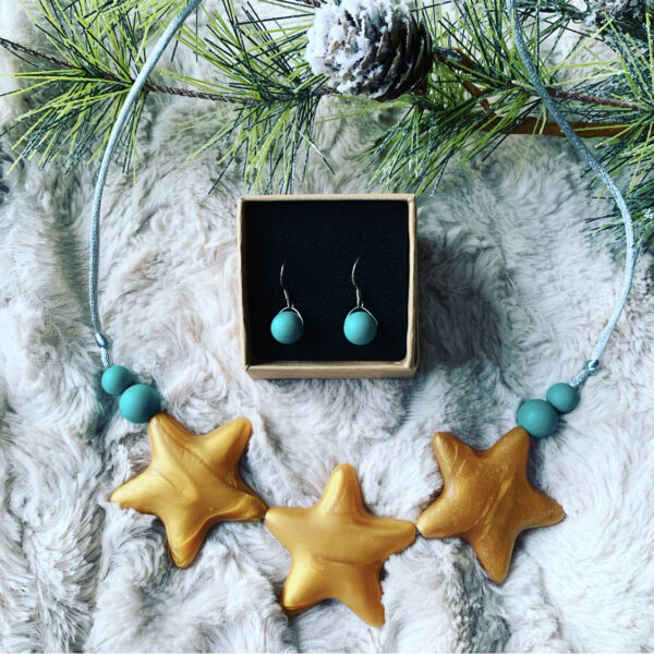 Crafted by Kate, Christmas star necklace and earrings