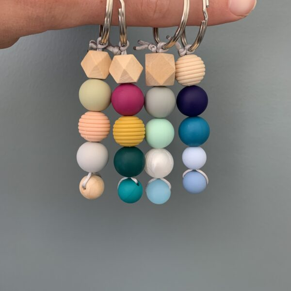 Crafted by Kate, Colourful silicone bead keyrings