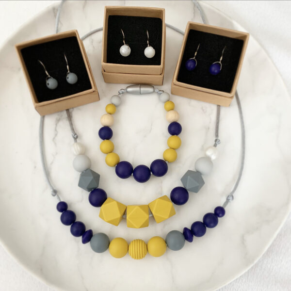 Crafted by Kate, Mustard, navy and grey silicone bead necklaces, bracelet and earrings