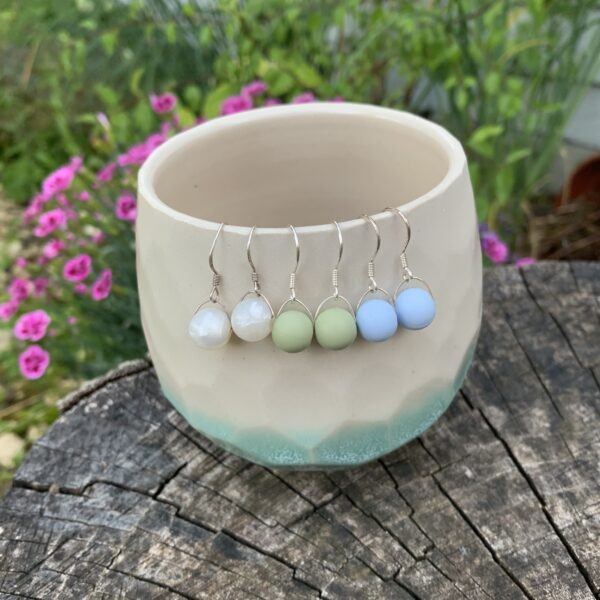 Crafted by Kate, 925 sterling silver silicone bead earrings