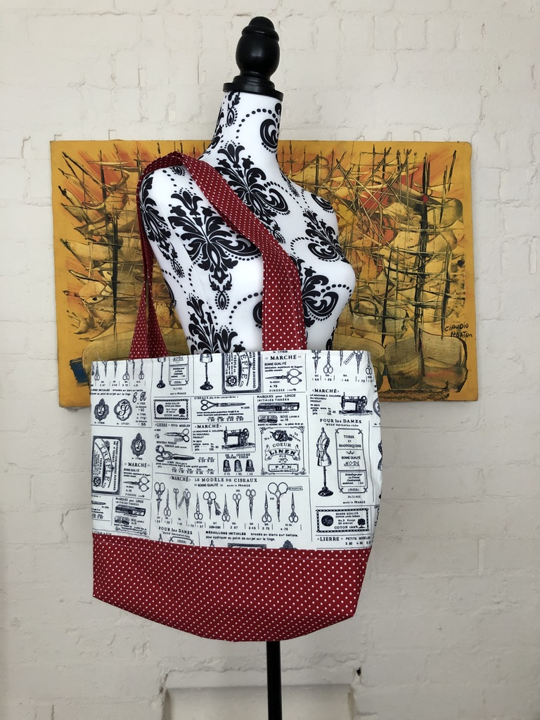 504 Krafts by K, Tote Bag with red polka dot bottom and vintage sewing themed top