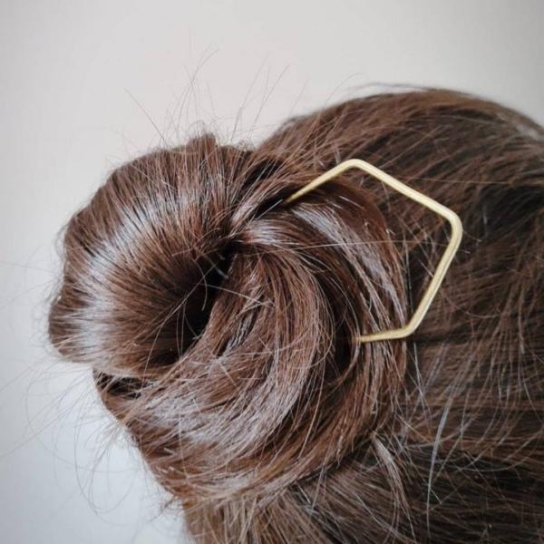 KiJo Jewellery, Gold hair fork worn in hair bun