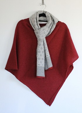 Finesse Knits, Scandi scarf and berry red poncho