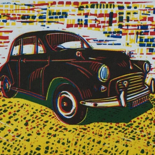 JaneDignumArtowrks. Linocut Print. Morris Minor with Green Shadow.