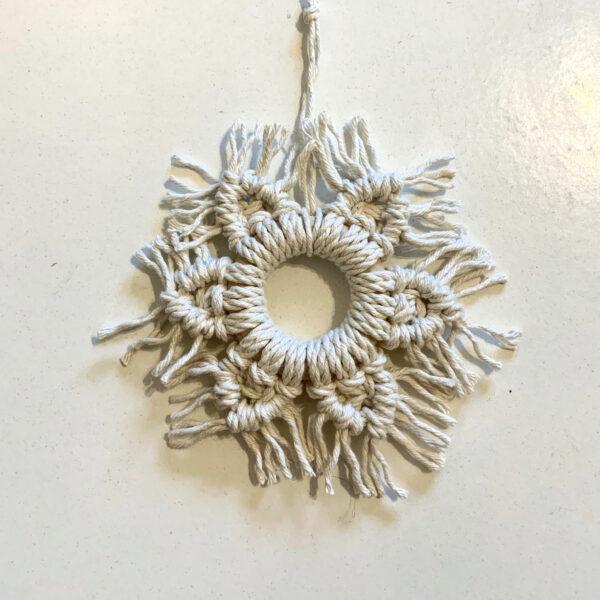 Bramble Blessings - Natural Macrame Snowflake Christmas Ornament Decoration