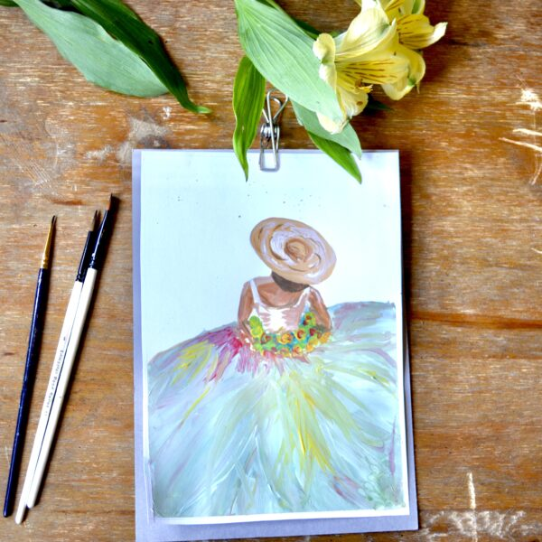 Lady with Flower Dress Print on A5, A6 or A4, or postcard. Green colours.