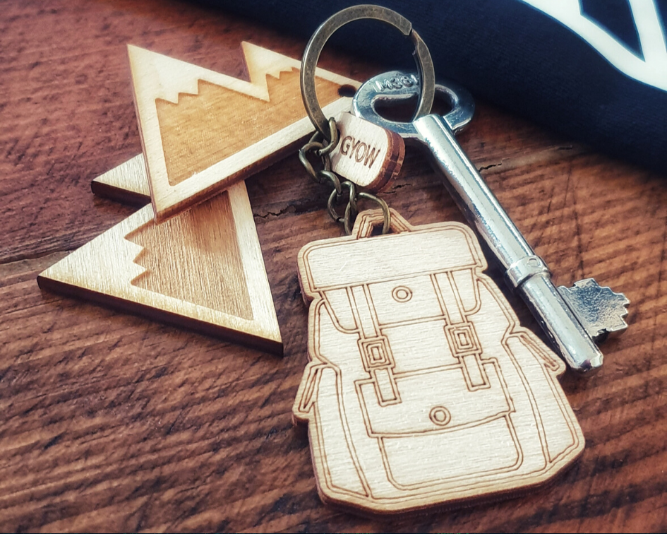 Go Your Own Way, Mountain and Backpack Keyrings