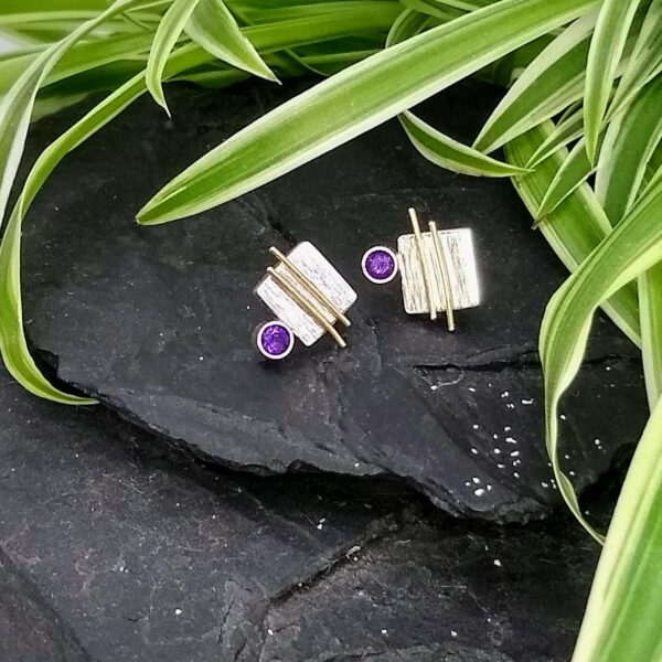 Inari Designs by Anna - 9ct Gold Silver & Amethyst Earrings