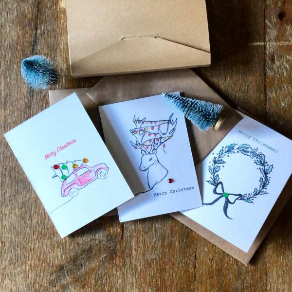 Line Art Eco Christmas Cards Wreath Reindeer Car Christmas Tree Greetings Cards Kraft Brown Envelope Sustainable