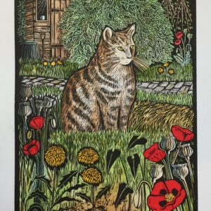 Original Linocut. Cat on the Allotment